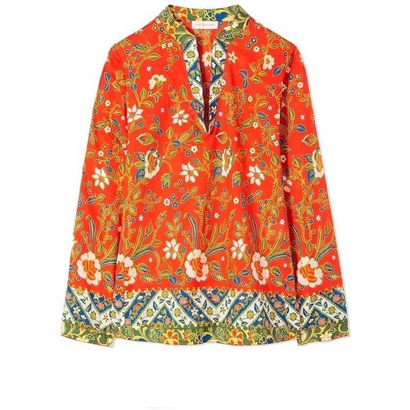 0b080db20a9 Tory Burch Floral Print Cotton Batik Tunic Blouse.  M_5aaea33c45b30ce8a4a674df